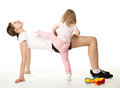 Mother and daughter doing sport exercises Royalty Free Stock Photo