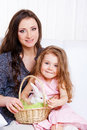 Mother and daughter with the Easter bunny Royalty Free Stock Photo