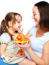 Mother and daughter eating pizza Royalty Free Stock Image