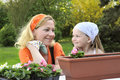 Mother and daughter - gardening Royalty Free Stock Photography