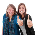 Mother and daughter giving thumbs up Royalty Free Stock Photos