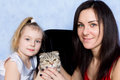Mother daughter and grey kitty image of Royalty Free Stock Photography