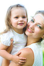 Mother and daughter happy laughing together outdoors Royalty Free Stock Images