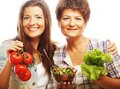 Mother and daughter health life food for diet Royalty Free Stock Photo