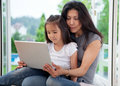 Mother and Daughter with Laptop Royalty Free Stock Photo