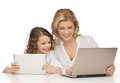 Mother and daughter with laptop tablet pc Stock Photos