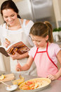 Mother and daughter make apple pie recipe Stock Images