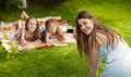 Mother and daughter making photos during picnic at park happy Royalty Free Stock Photography