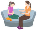Mother and daughter at menarche. Royalty Free Stock Photo