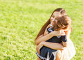 Mother and daughter in the park happy Stock Images