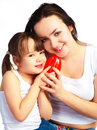 Mother and daughter with a pepper Stock Image