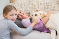 Mother and daughter with pet labrador Royalty Free Stock Photo