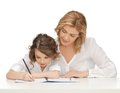 Mother and daughter picture of doing home work Royalty Free Stock Images