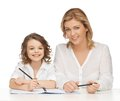 Mother and daughter picture of doing home work Royalty Free Stock Photos