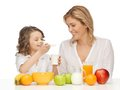 Mother and daughter picture of with healthy breakfast Royalty Free Stock Photo