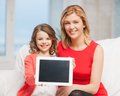 Mother and daughter picture of with tablet pc Stock Photos