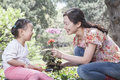 Mother and daughter planting flowers Royalty Free Stock Photography