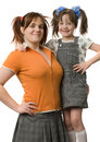 Mother and daughter with pony-tails Royalty Free Stock Image