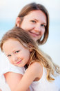 Mother and daughter portrait beautiful her adorable little Stock Photos