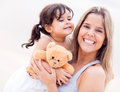 Mother daughter portrait teddy bear Royalty Free Stock Photos
