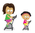 Mother and daughter riding exercise bikes illustration of a stationary Stock Photo