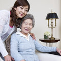 Mother and daughter senior asian women her adult Royalty Free Stock Photography