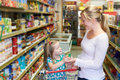 Mother And Daughter Shopping In Supermarket Together Royalty Free Stock Photo