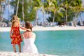 Mother and daughter on Tahitian beach Royalty Free Stock Photos