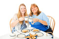Mother daughter tea party and teenage having a together isolated on white Royalty Free Stock Photo