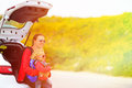 Mother and daughter travel by car Royalty Free Stock Photo