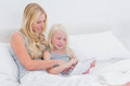 Mother and daughter using a tablet in bed Royalty Free Stock Photography
