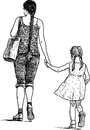 Mother and daughter vector drawing of the woman with her on a walk Stock Images