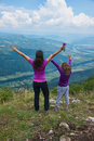 Mother and daughter at the viewpoint woman her female child on oslusa of tara mountain in serbia Stock Images