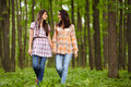 Mother and daughter walking hand in hand through a forest talking Royalty Free Stock Images