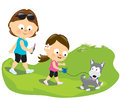 Mother and daughter walking the puppy illustration of a with their dog Stock Photo