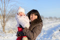 Mother and Daughter in Winter Royalty Free Stock Photography