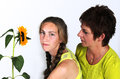 Mother and daughter with yellow clothes sunflower Royalty Free Stock Photography