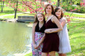 Mother and Daughters Outdoors Royalty Free Stock Photo