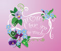 Mother day card with pansy and forget-me-not flowers - vintage f Royalty Free Stock Photo