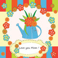 Mother day greeting card with flowers in watering can Stock Photography