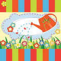 Mother day greeting card with flowers and watering can Stock Images