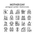 MOTHER DAY : Outline icons , pictogram and symbol collection