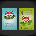 Mother day sale flayer with heart and ribbon Royalty Free Stock Images