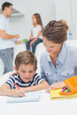 Mother drawing with her son Royalty Free Stock Photo