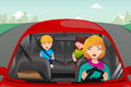Mother driving with her children a vector illustration of riding in the back wearing seatbelts Royalty Free Stock Images