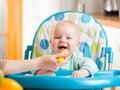 Mother feeding baby boy Royalty Free Stock Photo