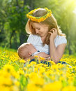 Mother feeding her baby in nature green meadow with yellow flow breastfeeding flowers Royalty Free Stock Photos