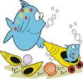 Mother fish and baby fish cartoon Stock Photography