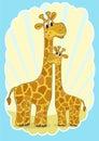 Mother-giraffe and baby-giraffe. Stock Photo