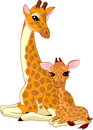 Mother-giraffe and baby-giraffe Stock Photo